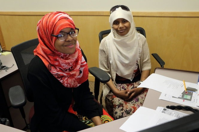Imbio Ali (left) was born in Somalia and lived in Nairobi, Kenya, before fleeing war and coming to the United States as a refugee. Rabiya Adem (right) fled war in Ethiopia. She spent many years in a refugee camp in Tunisia before coming to this country.