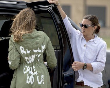 First lady Melania Trump walks to her vehicle as she arrives at Andrews Air Force Base, Md., Thursday, June 21, 2018, after visiting the Upbring New Hope Children Center run by the Lutheran Social Services of the South in McAllen, Texas.