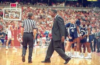 Georgetown head coach John Thompson yells at a referee in the first half of a game against Syracuse on March 4, 1990 at the Carrier Dome.