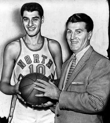 North Carolina coach Frank McGuire and Lennie Rosenbluth led the Tar Heels to the 1957 national title.