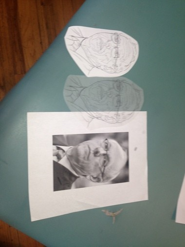 Kyle Proia used this picture and these supplies to create Rich Miner's tattoo of Jim Boeheim.