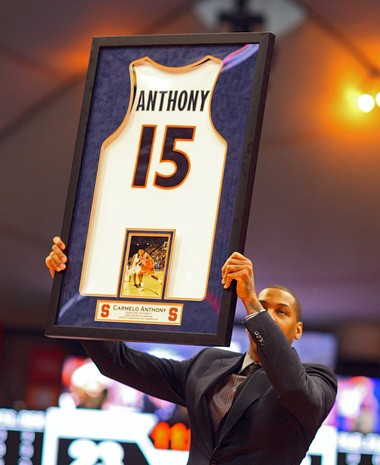 In 2013, Carmelo Anthony became the 10th Syracuse player to have his number honored.