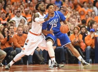 Duke center Jahlil Okafor tries to establish position against Syracuse's Rakeem Christmas.