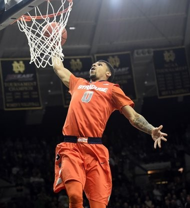 Syracuse's Michael Gbinije goes in for a dunk at Notre Dame on Tuesday.