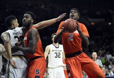 B.J. Johnson drives the lane for two of his career-high 19 points in Syracuse's win at Notre Dame.
