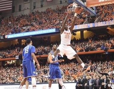 Syracuse forward Tyler Roberson (21) dunks off a Duke turnover in the first half of the Syracuse - Duke game at the Carrier Dome. Feb. 14, 2015. Dennis Nett | dnett@syracuse.com