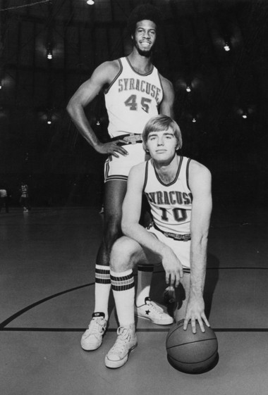 Rudy Hackett (standing) and Jim Lee (kneeling) were senior co-captains of the Syracuse team that advanced to the Final Four in 1975.