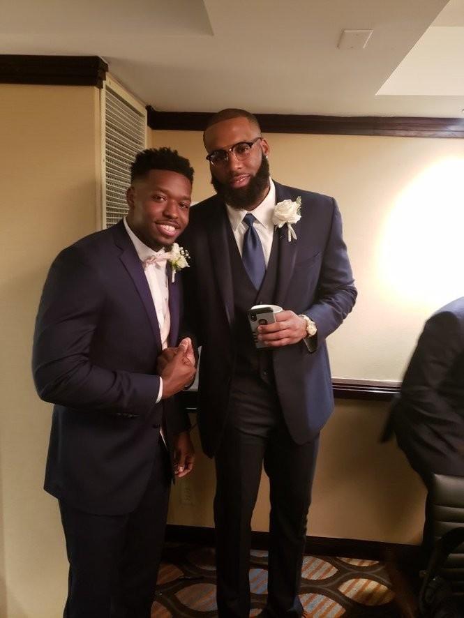 Former Syracuse basketball player Arinze Onuaku was a groomsman in his friend Kwame Morgan's wedding last weekend.