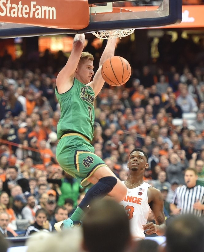 Notre Dame's Rex Pflueger dunks vs. Syracuse at the Carrier Dome, Syracuse, NY, Saturday January 6, 2018. Scott Schild | sschild@syracuse.com SYR