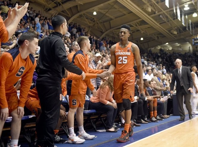 Syracuse guard Tyus Battle (25) is taken out near the end of the game against Duke on Saturday, Feb. 24, 2018, at Cameron Indoor Stadium in Durham, N.C. Dennis Nett | dnett@syracuse.com SYR