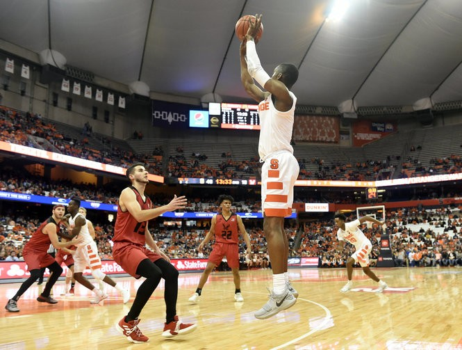 Syracuse guard Jalen Carey (5) during a game against Eastern Washington on Tuesday, Nov. 6, 2018, at the Carrier Dome in Syracuse, N.Y. Dennis Nett | dnett@syracuse.com