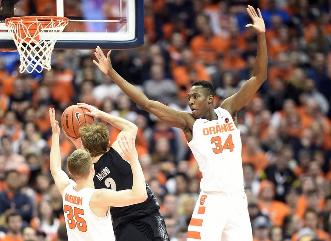 Syracuse guard Buddy Boeheim (35) and Syracuse forward Bourama Sidibe (34) during a game against Georgetown on Saturday, Dec. 8, 2018, at the Carrier Dome in Syracuse, N.Y.Dennis Nett | dnett@syracuse.com Dennis Nett | dnett@syracuse.com