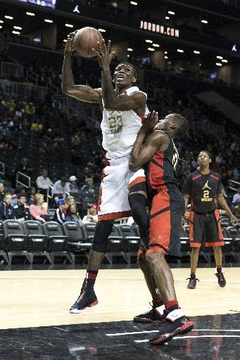 Prep basketball star Chinonso Obokoh (23), seen here at the Jordan Brand Classic Regional Game, held at the Barclays Center.