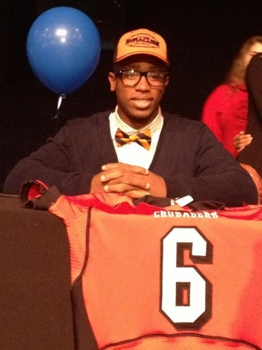 PJ Batten, who signed a letter of intent to play at Syracuse on Wednesday, is one of the fastest sprinters in Florida.