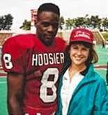 Thomas Lewis and Missy Shafer from media day 1992 at Indiana. Lewis and Shafer spent a summer together in Akron, Ohio, where Shafer studied the life of an inner-city minority athlete.