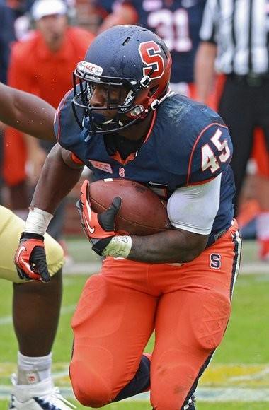 Syracuse running back Jerome Smith weighed his NFL options after last season before returning for a fourth year. Smith has said he intends to return to Syracuse for the 2014 season.