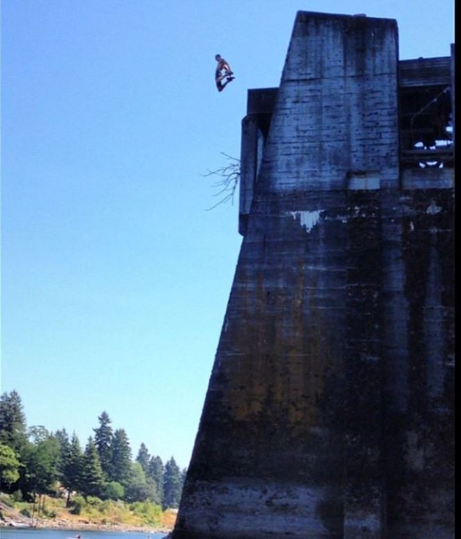 Eric Dungey would spend his summers jumping off buildings and bridges into the Willamette River.