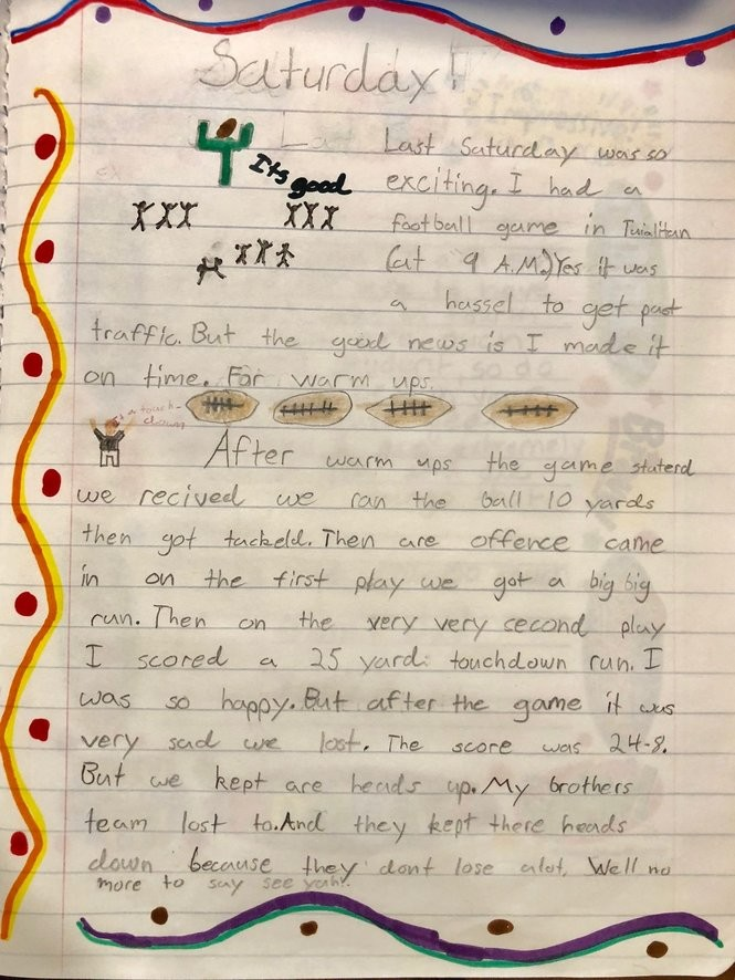 Eric Dungey wrote about his love for football in his diary when he was 8 years old.