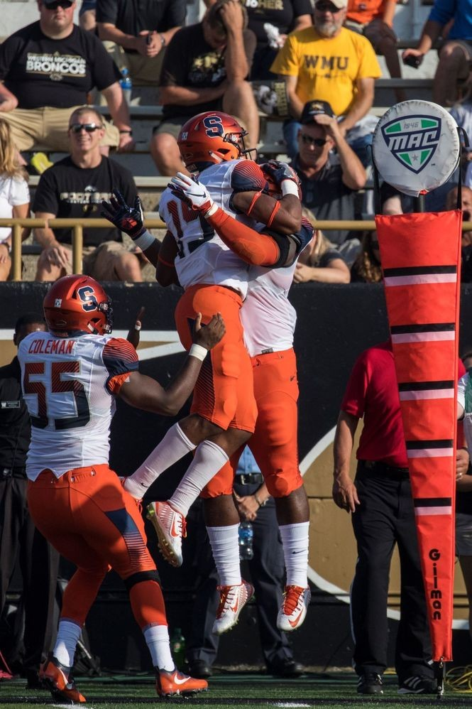 Syracuse football freshman safety Andre Cisco records his first career interception in the first quarter of SU's 55-42 win at Western Michigan.