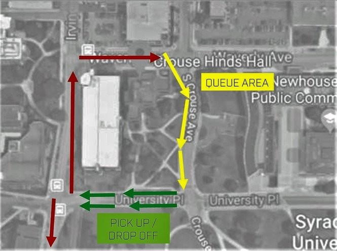 Map shows ride-sharing lot for Syracuse University football games. The pick-up and drop-off area is on University Place, between South Crouse Avenue and Irving Avenue. (Courtesy of Syracuse University)