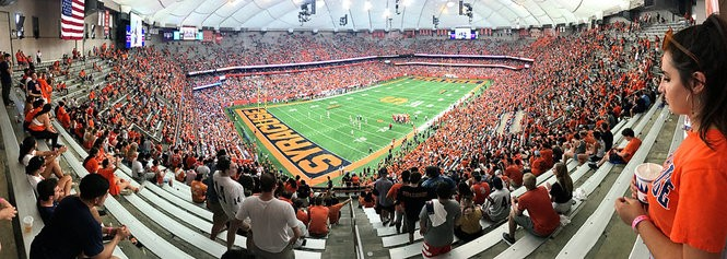 An announced crowd of 37,457 watched Syracuse beat. Florida State on Saturday, Sept. 15, 2018, at the Carrier Dome in Syracuse, N.Y.