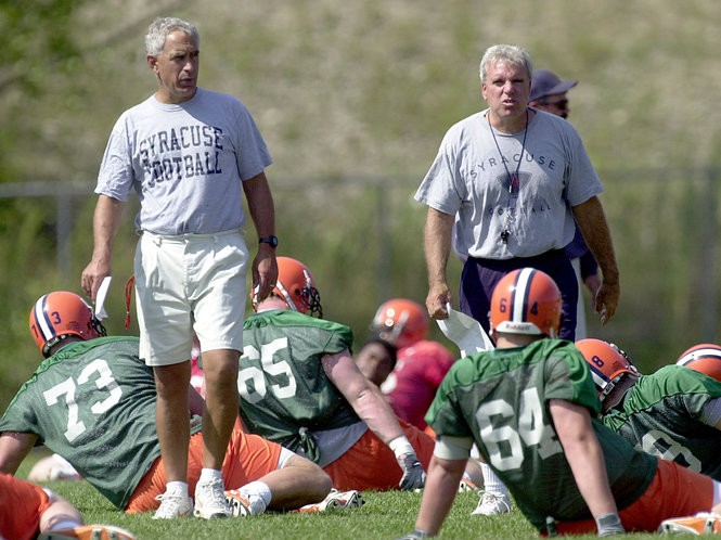 Paul Pasqualoni and George DeLeone were two internal candidates considered for the Syracuse job in 1991. Pasqualoni ended up being hired.