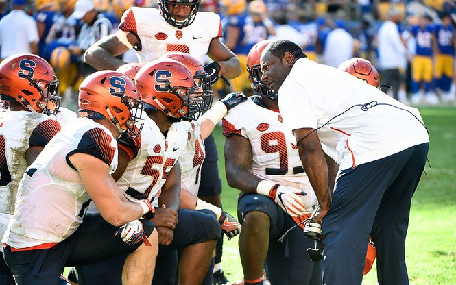 Syracuse coach Dino Babers calls a timeout during a game against Pittsburgh on Saturday, Oct. 6, 2018, at Heinz Field in Pittsburgh.