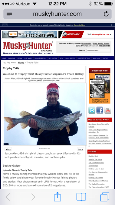 Allen's photos have appeared in Musky Hunter magazine twice, he said. Here he's pictured holding a 42-inch tiger.