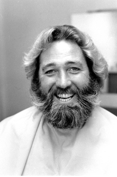 'Grizzly Adams' star Dan Haggerty smiles before his beard is shaved in Hollywood, Ca., Wednesday, Sept. 20, 1979.