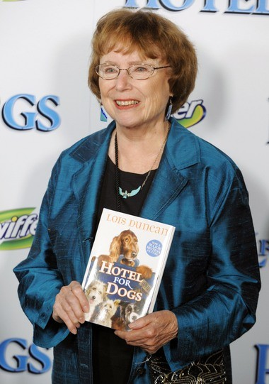 """In this Jan. 15, 2009 file photo, author Lois Duncan arrives at the premiere of the film, """"Hotel for Dogs,"""" in Los Angeles."""