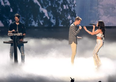 Alex Pall, left, and Andrew Taggart of The Chainsmokers, perform with Halsey at the MTV Video Music Awards at Madison Square Garden on Sunday, Aug. 28, 2016, in New York.