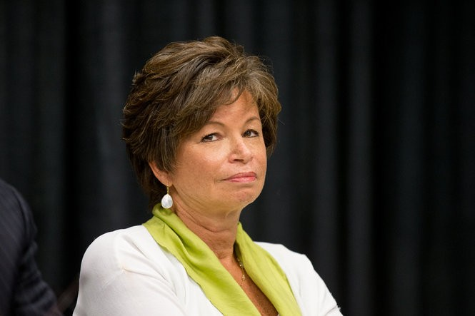 Senior Adviser Valerie Jarrett is pictured during a roundtable with President Barack Obama on the 10th anniversary of Hurricane Katrina at Andrew P. Sanchez Community Center in New Orleans, Thursday, Aug. 27, 2015.
