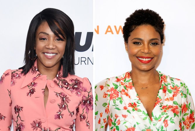 Tiffany Haddish, left, says actress Sanaa Lathan, right, bit Beyonce on the face at a party in December 2017.