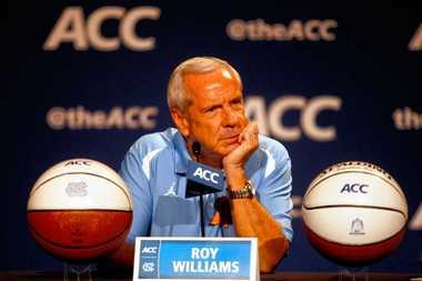 North Carolina coach Roy Williams answers questions during ACC media day on Wednesday in Charlotte, N.C.