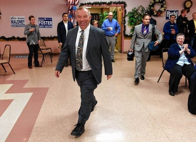 Marty Masterpole walks into a Democratic Party gathering to say his thank yous after being re-elected Syracuse city auditor. The Democrats were at Pensabenes Casa Grande in Syracuse after the polls closed Nov. 3, 2015.