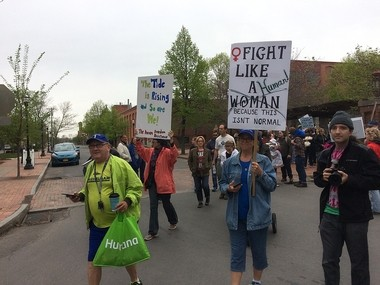 People's Climate March in Syracuse Saturday. Hundreds marched from Franklin Square to the Inner Harbor.