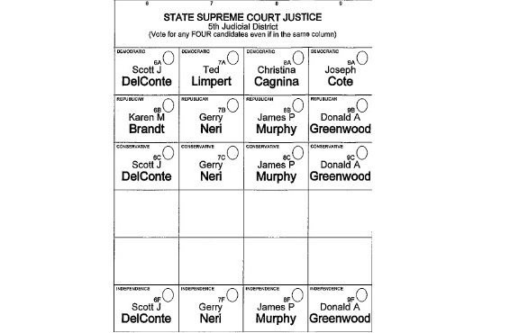 How the race for state Supreme Court appears on the sample ballot released by Onondaga County's board of elections. It's important to note that voters can chose any four candidates, regardless of what column they appear in or what party they are affiliated with.