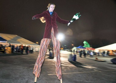 John Wolfson struts around on stilts during First Night at Onondaga Lake Park, Liverpool.