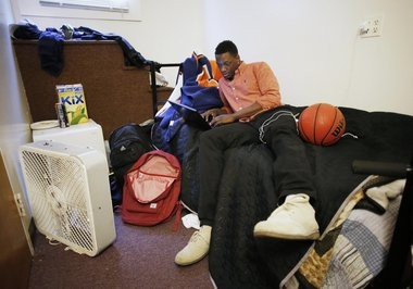 Syracuse University basketball recruit Kaleb Joseph relaxes in his room before class on the campus of Cushing Academy on May 8, 2014, in Ashburnham, Mass. (Special to syracuse.com/Winslow Townson)