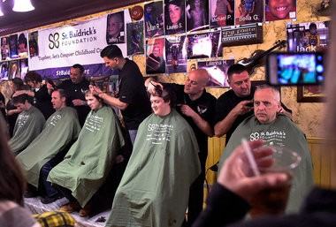 About 550 people signed up to have their heads shaved. The annual St. Baldrick's Foundation fundraiser was held on Sunday March 1, 2015 at Kitty Hoynes in Armory Square. With a goal of $400-thousand the money will be used to support research into childhood cancer cures.