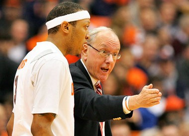 Coach Jim Boeheim gives Mookie Jones some pointers during Tuesday's game against Oakland University at the Carrier Dome. (Gloria Wright | The Post-Standard)