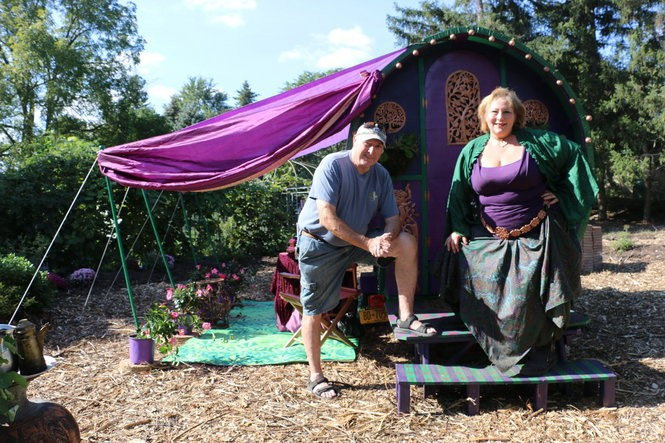 "Friends Dan Gardner and Tracey Baum-Wicks created this bowtop ""glamper"" caravan. Photo by Katrina Tulloch."