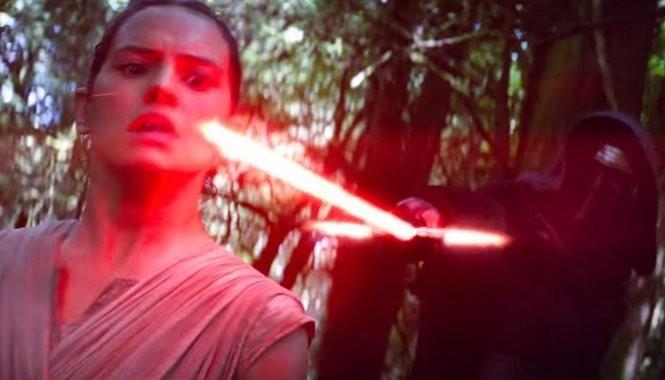 Kylo Ren threatens Rey in a scene from 'Star Wars: The Force Awakens.'