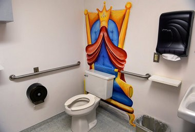 Artist Ally Walker has been painting murals for several years around the Golisano Children's Hospital. A whimsical throne off an exam room at the Pediatric Surgery area in the Physician's Office Building. Thurs. March 10, 2016.