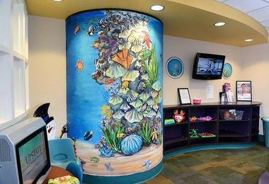 Artist Ally Walker has been painting murals for several years around the Golisano Children's Hospital. Her work seen in the pediatric radiology waiting room at Upstate University Hospital, Thurs. March 10, 2016.