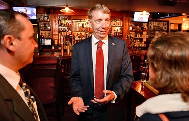 Martin Babinec talks to supporters at Dasher's Pub in Homer on Thursday, Oct. 27, 2016.