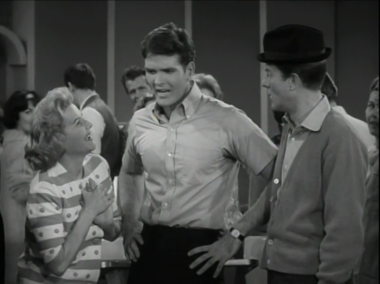 """Rose Marie, Jerry Lanning and Dick Van Dyke in """"The Dick Van Dyke Show"""". In the season 1 episode """"The Twizzle"""", Jerry Lanning guest starred as a young singer who invented a new dance. The episode was originally broadcast on Feb. 28, 1962."""