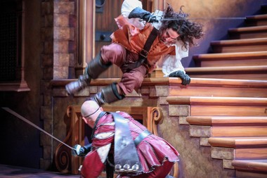 "Chris Hatch and Travis Staton-Marrero in Syracuse Stage's production of ""The Three Musketeers"". (Photo by Michael Davis)"