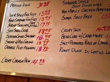 A hand-written menu on the wall at China Road, 2204 Brewerton Road (Route 11) in Mattydale.
