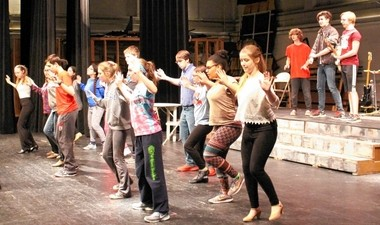 "Auburn High School drama students rehearse for ""The Wedding Singer."" They'll perform the show this weekend."
